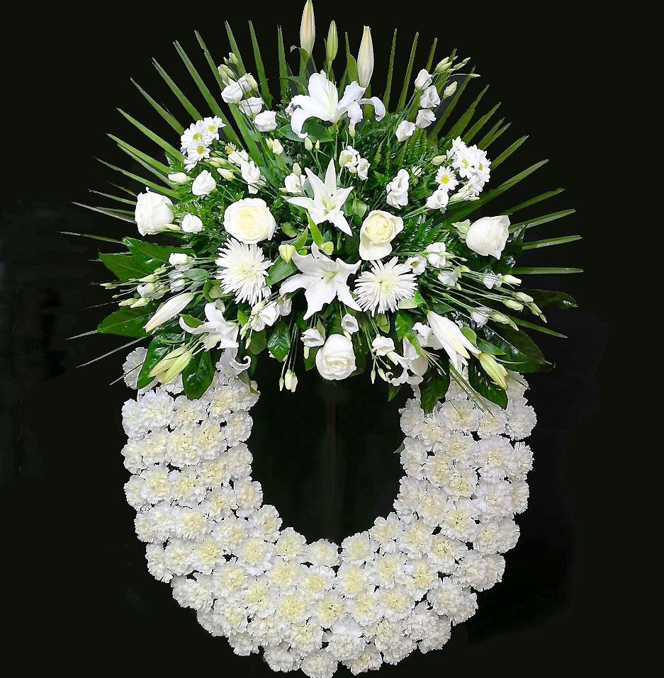 Corona de flores para difuntos blanca