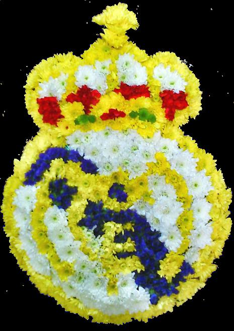 escudo de futbol con flores naturales